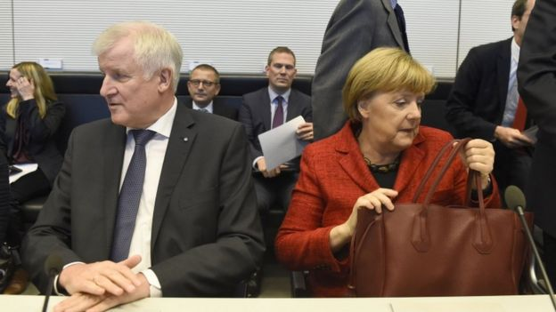 German Chancellor Angela Merkel and CSU leader Horst Seehofer