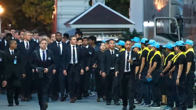 Claude Puel leads his players to the funeral of Mr Vichai