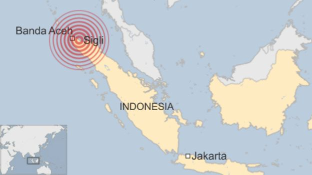 A map of Indonesia, showing Banda Aceh and Sigli, and the focal point of the quake