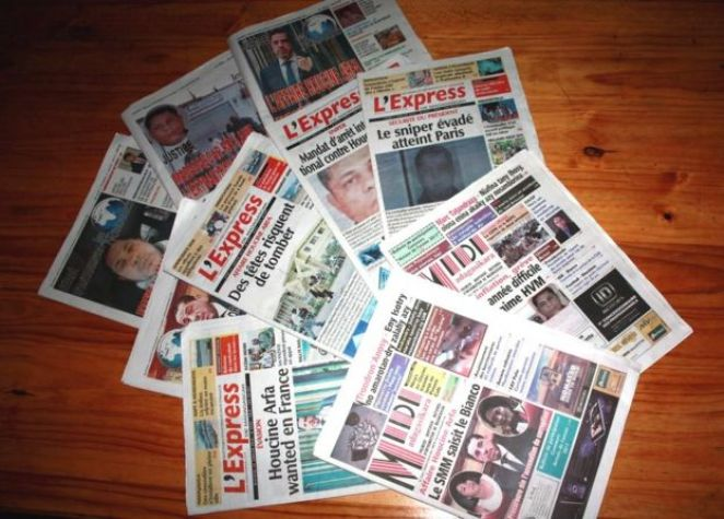 Front pages of newspapers in Madagascar