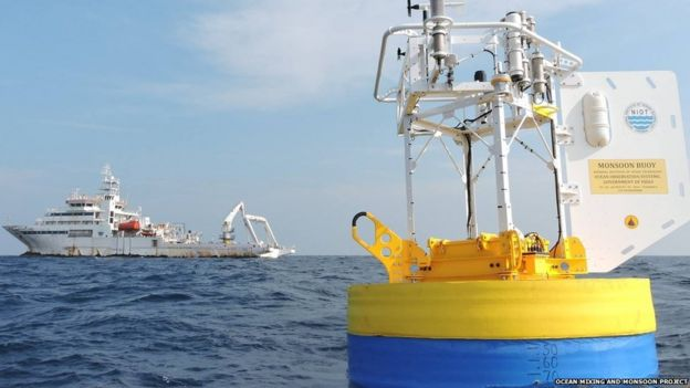 The buoy contains sensors that measure the salinity and temperature of the sea