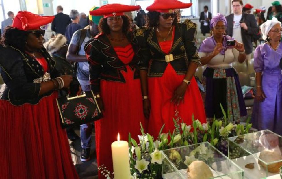 Women in Herero dress at a ceremony to return the skulls