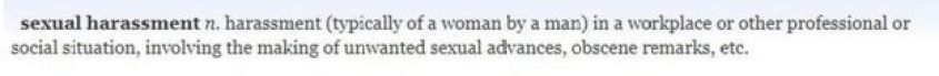 Oxford English Dictionary definition of sexual harassment