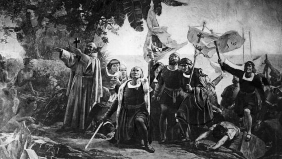 Ilustración que muestra la llegada de Cristóbal Colón a América