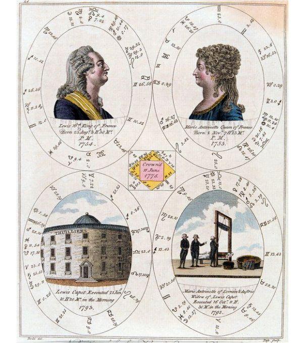 Dibujo que resume la vida de los reyes franceses Luis XVI y María Antonieta.