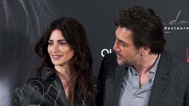 Penelope Cruz and Javier Bardem at a photocall at Melia Serrano Hotel on March 6, 2018 in Madrid, Spain.