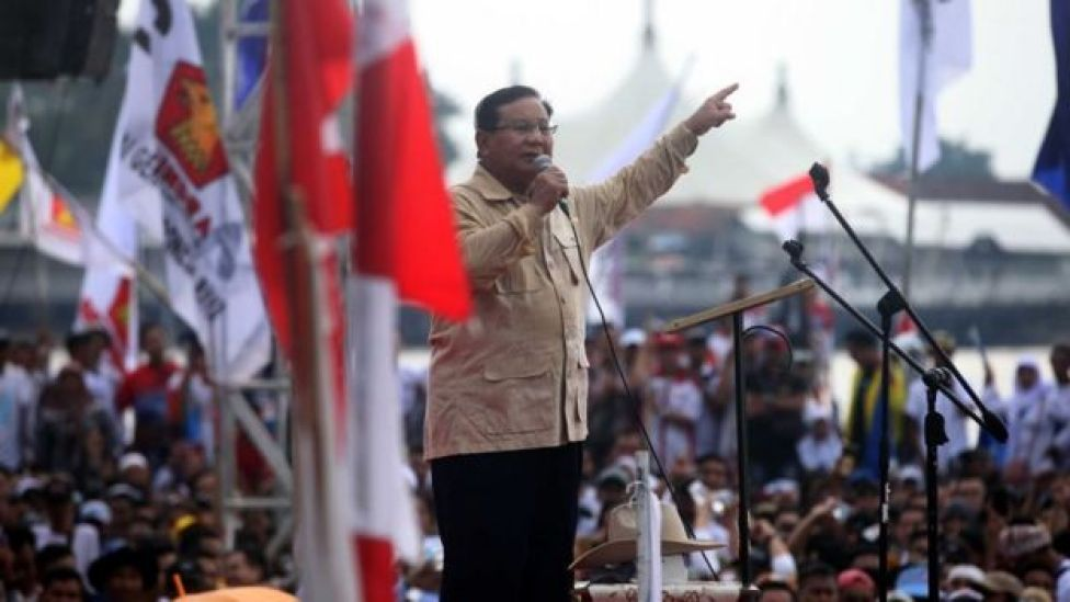 Prabowo Subianto addresses a rally