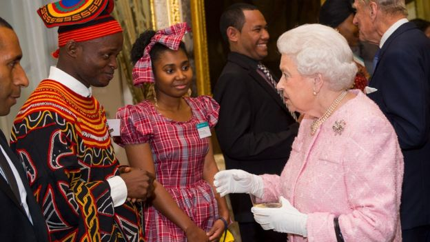 The Queen congratulating winners of the Commonwealth Youth Awards in 2016