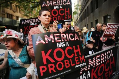 A protest against the Koch brothers