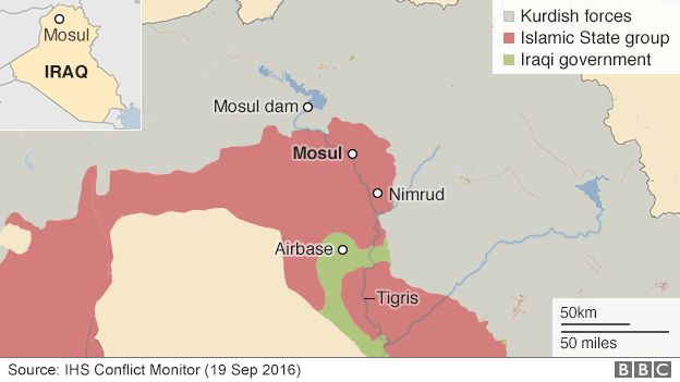 Map showing frontlines around Mosul