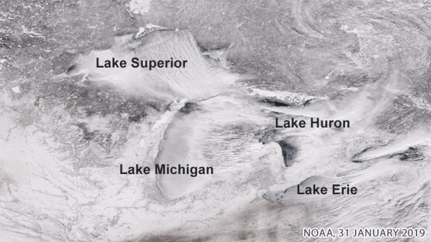 Snow covering the Great Lakes region