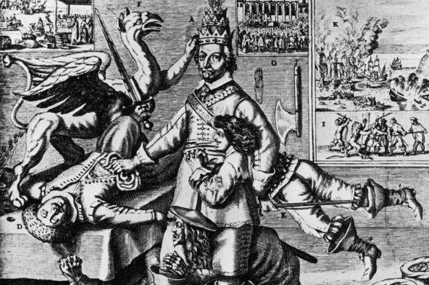 Ilustración de Oliver Cromwell luchando contra sus varios rivales