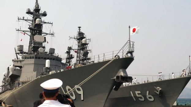 Hai chiến hạm Nhật lần đầu cập cảng quốc tế Cam Ranh tháng Tư 2016