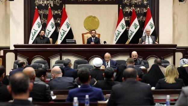 Caretaker Prime Minister Adel Abdul Mahdi addresses the Iraqi parliament on 5 January 2020