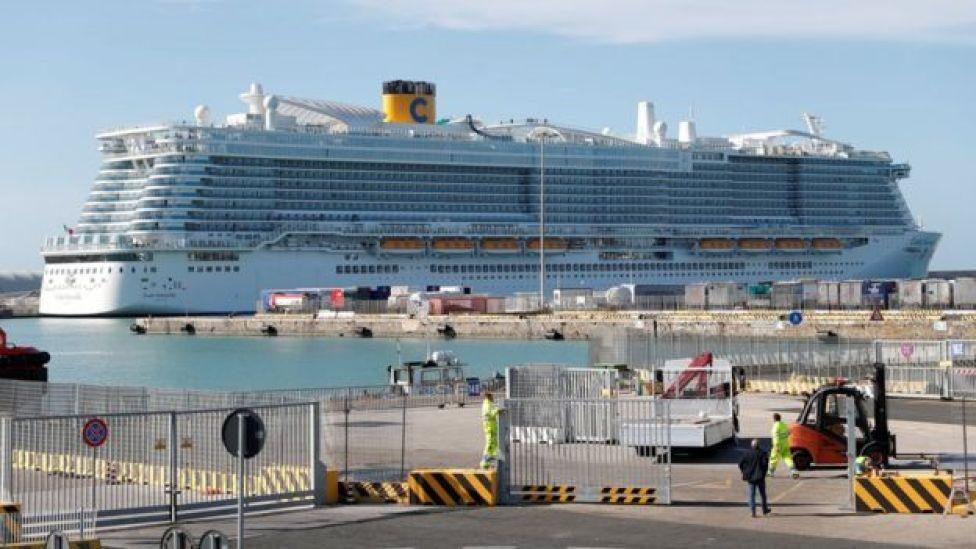 The Costa Smeralda cruis ship, seen at port in Civitavecchia