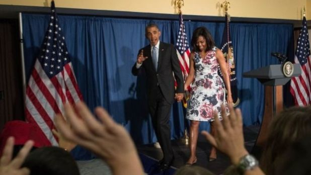 US President Barack Obama and First Lady Michelle Obama greet US embassy staff in Havana on 20 March, 2016.