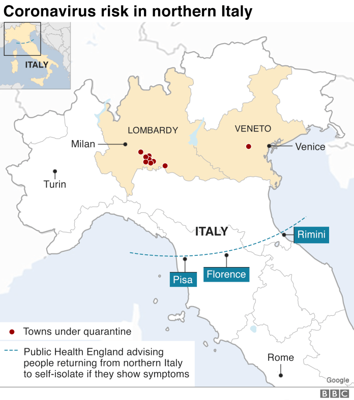 Italy map showing quarantined areas