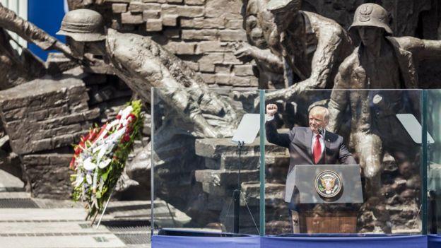 Tổng thống Mỹ Donald Trump tại Warsaw ngày 6/7/2017