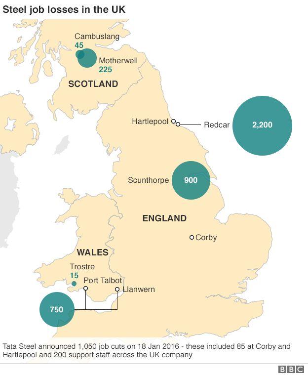 Map showing steel job cuts in UK