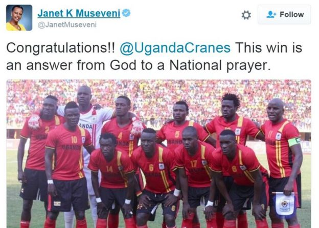 ugandan national team photo with tweet from Janet Museveni which reads: