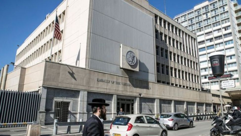 The US embassy building in Tel Aviv