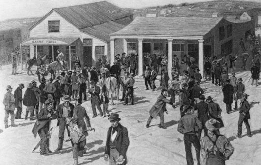 An 1891 woodcut showing prospectors outside the post office in San Francisco during the California gold rush in 1849