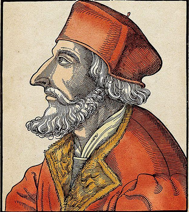 Jan Hus (1369-1415) era un reformador de la iglesia y seguidor de John Wycliffe. Además fue un defensor de la Independencia de Bohemia y por lo tanto contra el Imperio de Alemania. Grabado coloreado, Alemania siglo XVI.