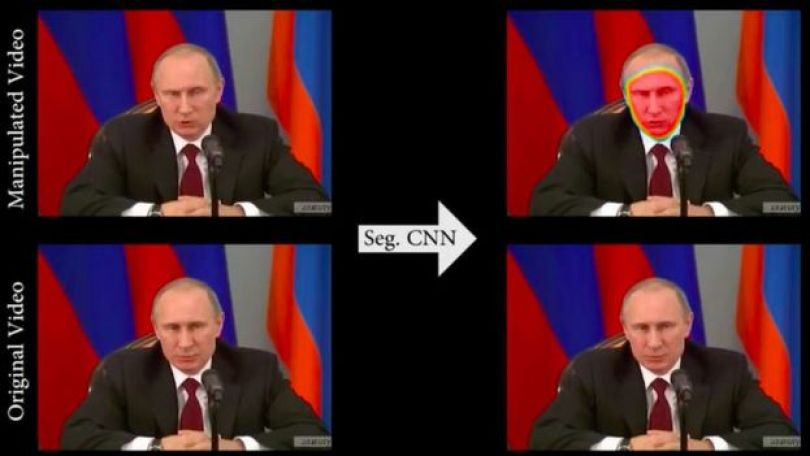 Tela do FaceForensics com vídeo de Vladimir Putin de exemplo