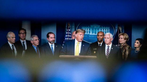Trump briefs the press on the US coronavirus response