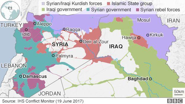 イラクとシリアのおける先月19日時点での各勢力の支配地域(薄紫:シリア/イラクのクルド人勢力、オレンジ色:IS、黄緑:イラク政府、緑:シリア政府、紫:シリアの反政府勢力)