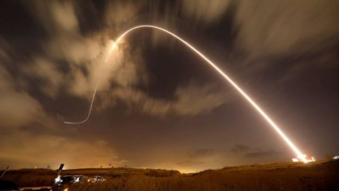 Israel's Iron Dome system fires an interception missile at Palestinian rockets in 2018