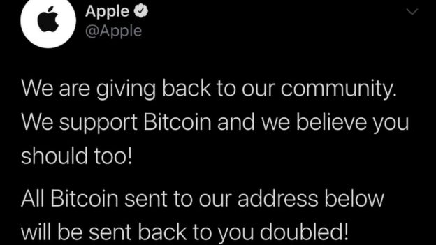 A hacked tweet from Apple's account