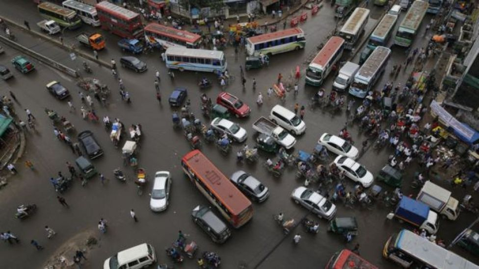 A traffic jam at an intersection in Dhaka, Bangladesh