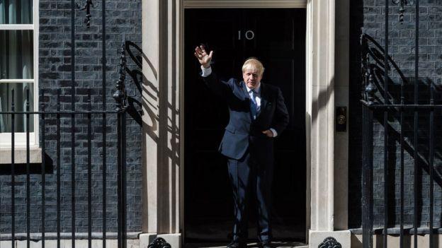 Boris Johnson outside No 10 Downing Street