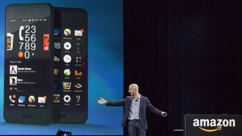Amazon chief executive Jeff Bezos at the launch of the Fire Phone in June 2014