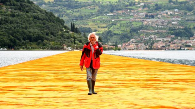 Christo Vladimirov Javacheff attends the presentation of his installation The Floating Piers in Sulzano, Italy, 16 June 2016