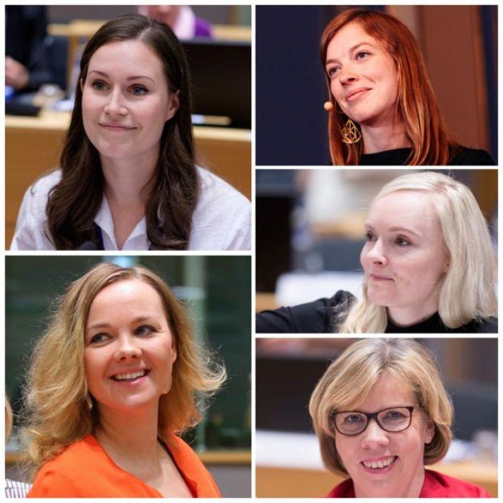 Finlandiya'da koalisyondaki beş partinin de lideri kadın. (Saat yönünde: Sanna Marin, 34, Sosyal Demokratlar; Li Andersson, 32, Sol İttifak; Maria Ohisalo, 34, Yeşil Lig; Anna Maja Henriksson, 55, Finlandiya İsveç Halk Partisi; Katri Kulmuni, 32, Merkez Parti.