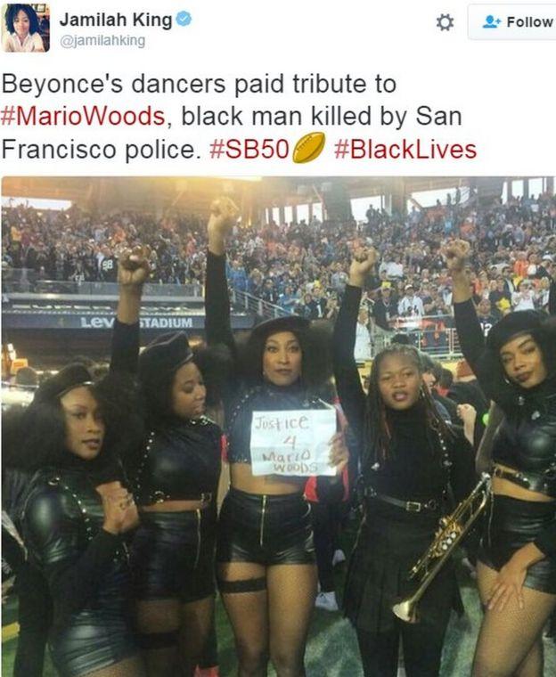 Tweet mostrando bailarines de respaldo de Beyonce que piden justicia por disparos de la policía - 7 de febrero de el año 2016