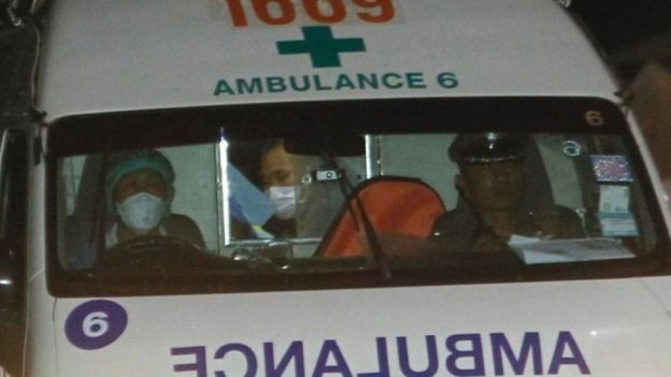 An ambulance arrives at hospital after some of the youth soccer team and their assistant coach have been rescued from a Thai cave, 08 July 2018