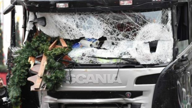 The front of the lorry that struck a busy Christmas market in Berlin