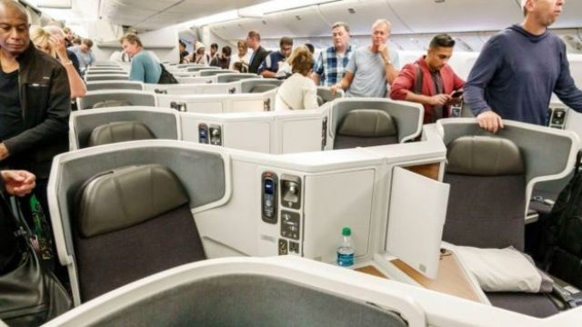 Passengers in a business class cabin