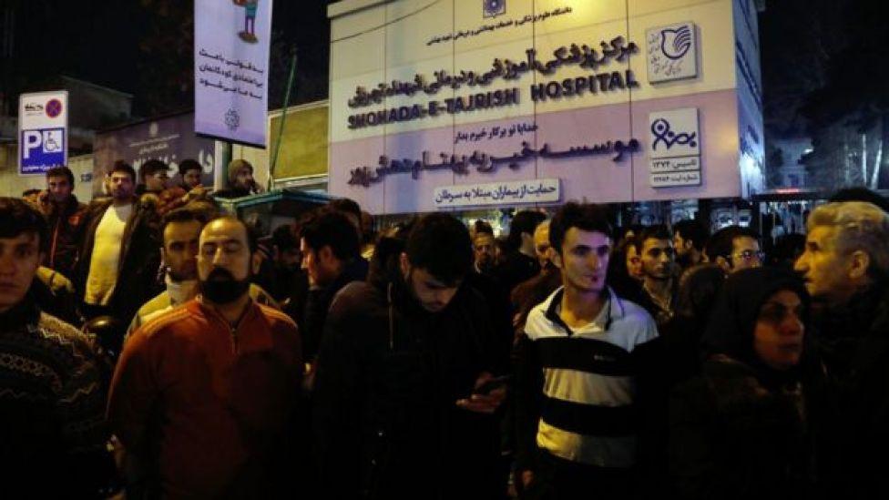 People gathered outside Tajrish hospital where former Iranian president Akbar Hashemi Rafsanjai died