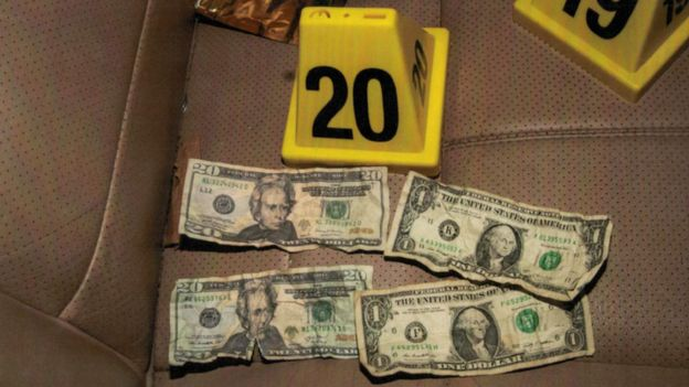 A picture of fake dollar bills found in Mr Floyd's car, according to court documents