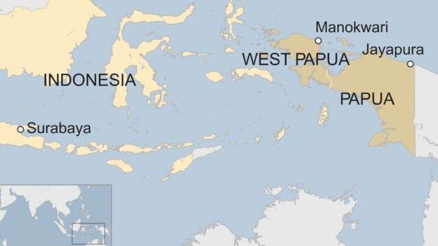 A map showing the location of West Papua and Papua