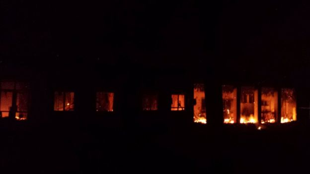 MSF hospital in Kunduz on fire after bombings (3 October 2015)