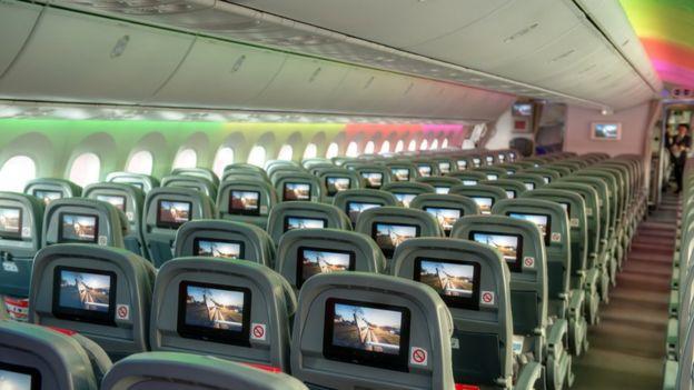 Interior de um Boeing 787