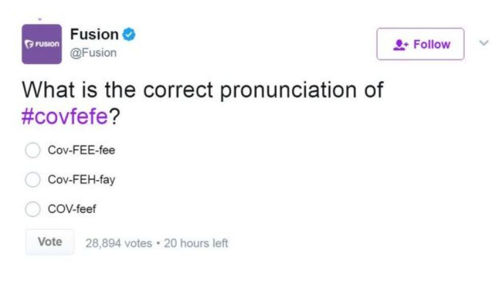 「covfefe」の正しい発音は?と尋ねるツイッターアンケート