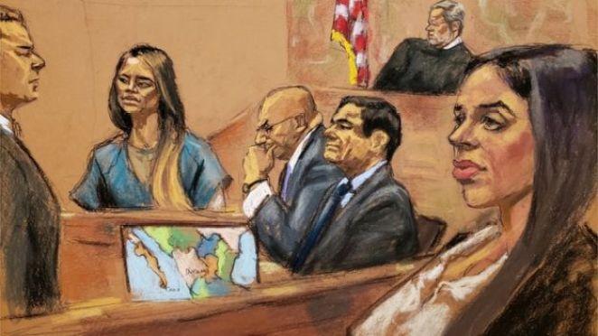 """""""El Chapo""""nun kız arkadaşı ifade verirken Lucero Guadalupe Sanchez Lopez (soldan ikinci), eşi Emma Coronel (en sağdaki) de ifadeyi izledi"""