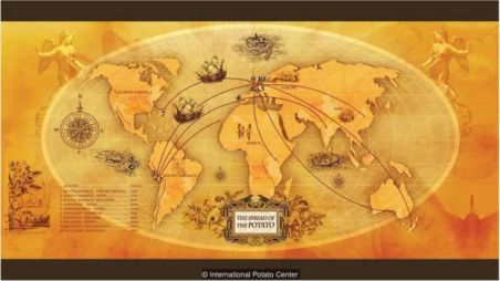 O Centro Internacional da Batata criou um mapa para mostrar o movimento global da batata desde que foi domesticada nos Andes