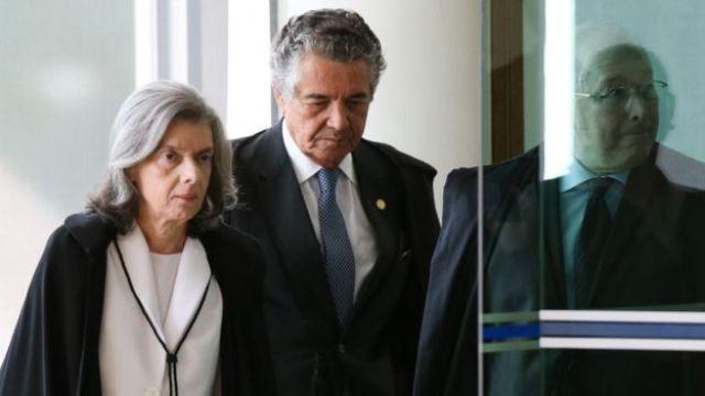 Ministros Cármen Lúcia, Marco Aurélio e Celso de Mello (da esq. para a dir.)